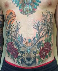 Deer And Roses Stomach Tattoo Dynamic Tattoo