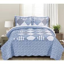 morgan home isabella fl and plaid patchwork king quilt set 3 piece