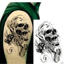 1ks černá Smrt Lebka Hlava Rameno 3d Vodotěsné Dočasné Tetování
