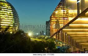 ultra modern architecture. Night Capture Of Ultra Modern Architecture In Jianggan, A New Business District Hangzhou, R