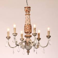 antique rustic 6 light candle style resin chandelier with dangling crystal drop