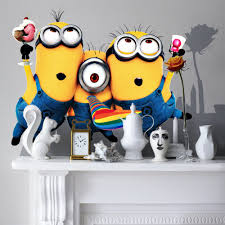Minion Wallpaper For Bedroom Aliexpresscom Buy 1 Set Despicable Me Cute Minions Wall Sticker