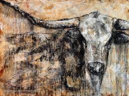 texas longhorn paintings painting bad attitude texas longhorn contemporary painting by jennifer shalk