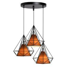 drop lighting. Beautiful Drop Vintage Retro Industrial Style 3pcs Led Drop Light Diamond Wrought Iron LED  Pendant With Shade For Drop Lighting X