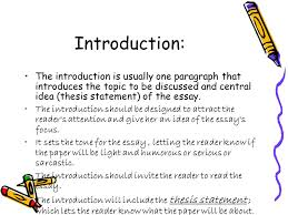 essay writing an essay is a group of paragraphs that develops one  introduction the introduction is usually one paragraph that introduces the topic to be discussed and