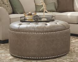 round leather tufted ottoman. Elegant Round Leather Ottoman For Your Living Room Design: Dark Gray Tufted F
