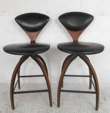 upholstered swivel bar stools. This Pair Of Vintage Barstools By Norman Cherner Feature Unique Bentwood Construction, Vinyl Upholstery, Upholstered Swivel Bar Stools R