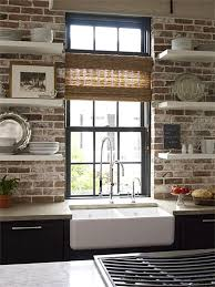 Modern style meets old-world charm... exposed brick kitchen backsplash with  open