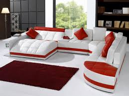 Modern Contemporary White Red Leather Sofa in Living Room