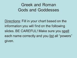 Gods And Goddesses Chart Greek And Roman Gods And Goddesses Directions Fill In Your
