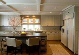 tan painted kitchen cabinets. Elegant Kitchen With Coffered Ceiling, Tan Cabinets Granite Countertops And Vertically Paneled Backsplash, Dark Gray Island Painted H