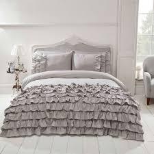 flamenco ruffle grey king size duvet cover pillowcase set