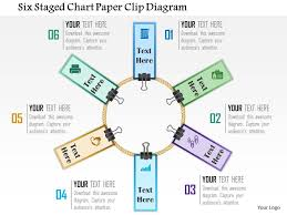 Chart Paper Presentation 0115 Six Staged Chart Paper Clip Diagram Powerpoint Template