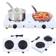 portable electric double burner hot plate heating cooking stove kitchen camping