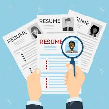 Resumes With Magnifier At The Table Cv Resume Concept Finding