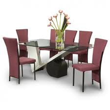 modern glass dining room sets. Excellent Black Purple Glass Stainless Unique Design Top Flower Chairs At Dining Room Wonderful White Modern Sets