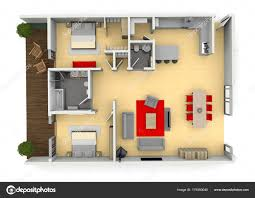 3d cgi birds eye view floorplan of a modern house or apartment stock image