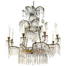 1920s swedish palm leaf chandelier with crystal drops