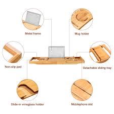 Bathtub Tray Bamboo Bathtub Caddy Tray Tub Bath Organizer Waterproof Non Slip