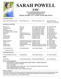 Audition Resume Format Theater Resume Format Musical Theatre