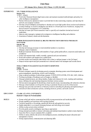 Cyber Intelligence Resume Samples Velvet Jobs