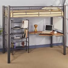 image of metal loft bed with desk