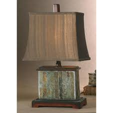 uttermost slate table lamp with distressed mahogany details concord lamp and shade