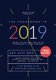 new year s template new years eve 2019 graphic template with clock easil