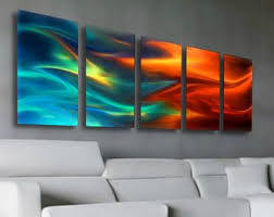 large abstract metal wall art decor fire and ice blue and red