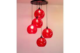 11 12 vintage light red glass ball chandelier sconce