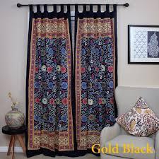 handmade 100 cotton sunflower fl tab top curtain d door panel navy blue gray yellow