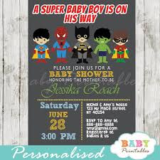 Personalized Superheroes Superhero Boys Baby Shower Invitation D213