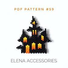 Dark <b>castle Halloween</b> brooch necklace brick stitch PDF <b>pattern</b> | Etsy
