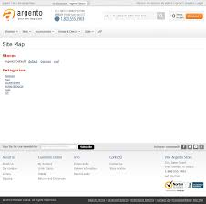 html sitemap on argento theme with categories max depth set to 1 and sort by set