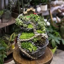 large vertical cottage sculpture flowerpot grey resin succulent planter balcony plants potted planter fairy garden flower