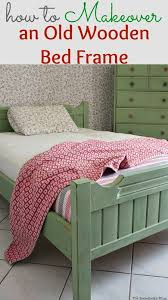 a bed frame painted with decoart chalky finish paint to match the ikea dresser how