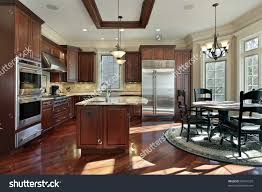 Luxury Kitchen Luxury Kitchen Cherry Wood Cabinetry Eating Stock Photo 83241520