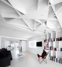 Minimalist Futuristic Living Room Ideas With Unique Ceiling Design