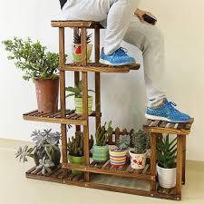 Large Size Metal/Wood Floor-Standing Pot Plant Stand Flower Planter Rack  Display