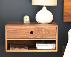 Floating Nightstand with Drawer in Walnut / Mid Century Modern Bedside Table