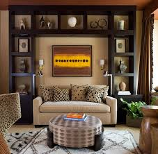 View in gallery Contemporary living room with a fabulous display and a  Moroccan rug