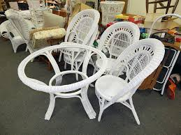 white wicker round kitchen patio table chair dining set