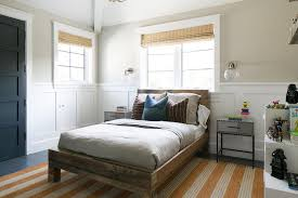 boy room with reclaimed wood bed and