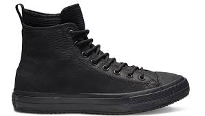 black sneakers converse chuck taylor all star waterproof leather high top boot 101 162409c shooos