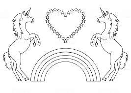 Paar Eenhoorns Met Regenboog En Hart Met Sterren Kleurplaat Voor