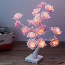 Flower Lights For Bedroom Led Rose Tree Table Lamp Led Garland Lights Adjustable Pink