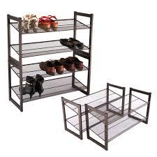 Space Saving Shoe Rack 4 Tier Metal Shoe Rack Mesh Stand Pairs Storage Shelf Organizer
