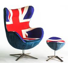 exclusive vintage egg chair replica with union jack print ottoman british furniture