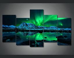 5 panel wall art 5 panel canvas art prints 5 panel aurora northern light canvas painting