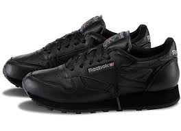 reebok black shoes. reebok women\u0027s classic leather sneakers in all black- comfortable for tourism where there will be black shoes s